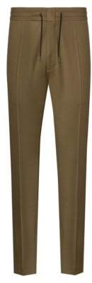 Tapered-fit pants with drawstring waist in wool blend