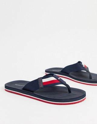 Tommy Hilfiger sporty corporate stripe beach sandal in navy