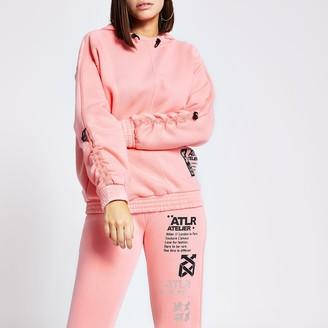 River Island Womens Pink 'ATLR' print ruched sleeve hoodie