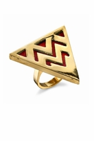 House Of Harlow Triangle Cocktail Ring in Coral