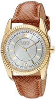 Burgi Women's Swarovski Crystal Accented White Mother-of-Pearl Dial with Gold-Tone Case on Genuine Leather Light Brown Strap Watch BUR167TN