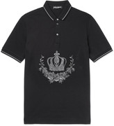 Dolce & Gabbana Slim-Fit Embroidered Cotton-Piqué Polo Shirt