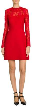 Valentino Chantilly Lace Long Sleeve A-Line Dress