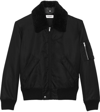 Saint Laurent Shearling Collar Army Bomber Jacket