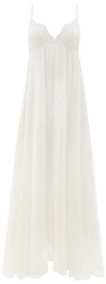Carine Gilson Dancer Lace-trimmed Silk-georgette Slip Dress - Womens - Ivory
