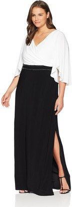 Adrianna Papell Women's Plus Size V-Neck Jersey Dress with Long Sleeves