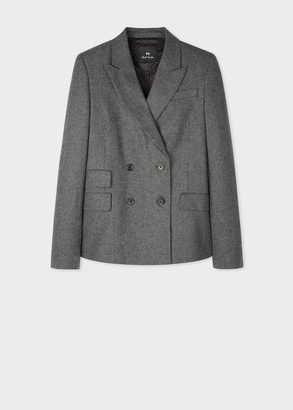 Paul Smith Women's Grey Houndstooth Flannel Wool Double-Breasted Blazer