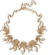 Oscar de la Renta Gold-plated faux pearl necklace