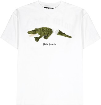 Palm Angels Croco white printed cotton T-shirt
