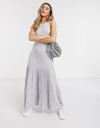 ASOS DESIGN grey marl pleated hem maxi dress in grey