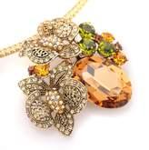 Spinningdaisy Swarovski Crystal Tarnished Brass Amber Floral Brooch