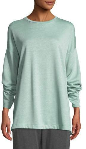 Eileen Fisher Terry Side-Slit Bateau-Neck Top, Plus Size