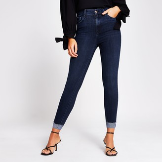 River Island Womens Dark denim high rise turn up jeans