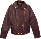 Mulberry Zip-Up Faux Leather Jacket - Girls