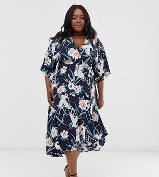 Liquorish Curve wrap midi dress in heron print with contrast lace detail-Navy