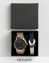 Reclaimed Vintage Inspired Mesh Strap Watch And Navy Knot Bracelet Gift Set