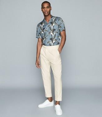 Reiss Express - Herringbone Slim-fit Trousers in Ecru