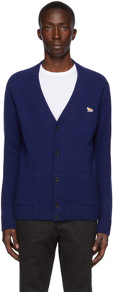 MAISON KITSUNÉ Navy Wool Profile Fox Patch Cardigan