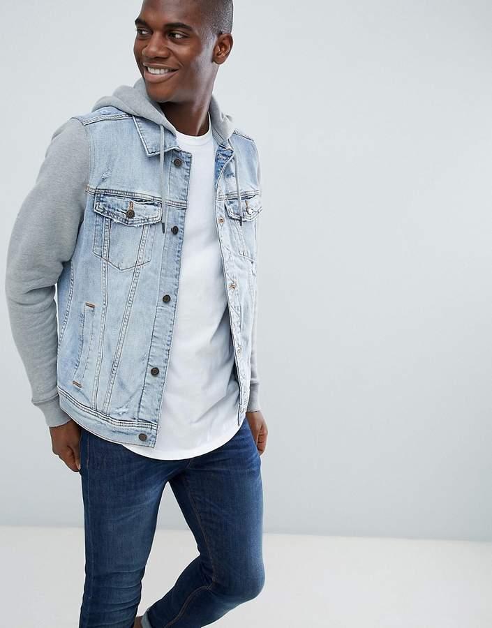 Hollister denim jacket sweat hood & sleeves in light wash/grey