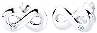 Diamore Women's 925 Sterling Silver White Diamond Infinity Earrings