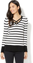 New York & Co. Criss-Cross Front Sweater - Stripe