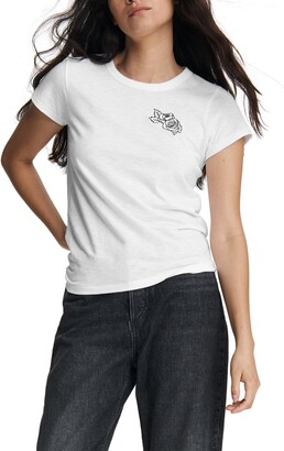 Rag & Bone Scribble Rose Embroidery Organic Cotton T-Shirt