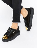 Puma Suede Platform Sneakers In Black With Gold Toe Cap