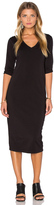 Michael Stars 3/4 Sleeve V Neck Midi Dress