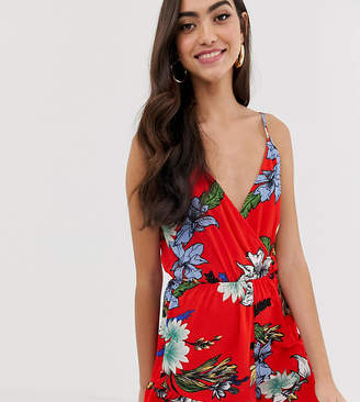 Parisian Tall cami strap playsuit in floral print-Red