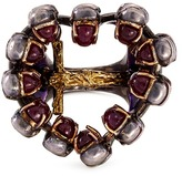 Delfina Delettrez Ruby 18k gold and silver skull cross ring