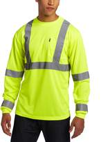 Key Apparel Men's Long Sleeve High Visibility Waffle Weave Reflective Stripe Pocket Tee Shirt, Hi-vis