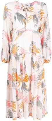 Closed Foliage-Print Flared Dress