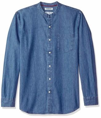 Goodthreads Men's Standard-fit Long-sleeve Band-collar Denim Casual Shirt Blue (Medium Med) Small