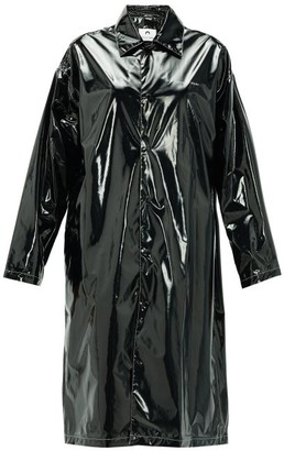 Marine Serre Logo-print Single-breasted Pvc Raincoat - Womens - Black