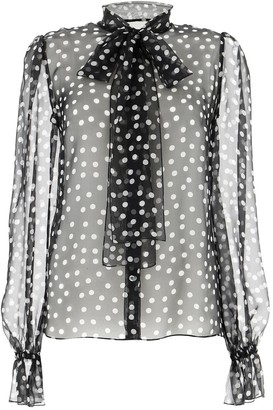 Dolce & Gabbana Polka Dot Sheer Blouse