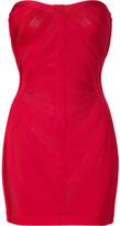 Herve Leger Cardinal Red Strapless Bandage Dress