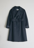 MM6 MAISON MARGIELA Women's Trench Coat in Dark Blue, Size 38 | 100% Cotton