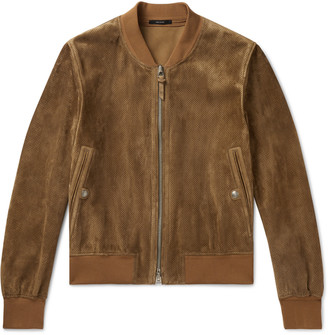 Tom Ford Perforated Suede Bomber Jacket - Brown