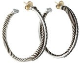 David Yurman XL Black Diamond Crossover Hoop Earrings