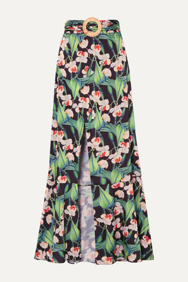 PatBO Belted Wrap-effect Floral-print Crepe Maxi Skirt - Black