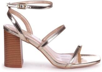 Linzi BONDI - Gold Metallic Strappy Block Heeled Sandal