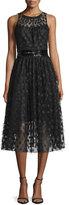 Carmen Marc Valvo Sleeveless Polka-Dot Cocktail Dress, Black