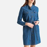 La Redoute Collections Denim Shirt Dress with Tie-Waist
