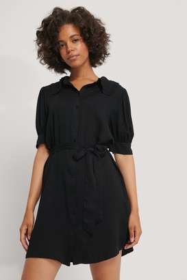 NA-KD Big Collar Short Sleeve Shirt Dress