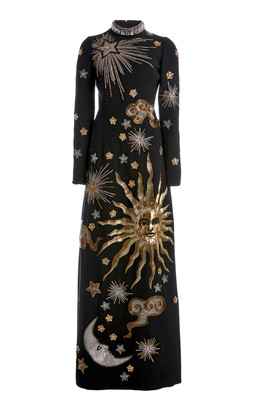 Andrew Gn Embroidered Crepe High-Neck Maxi Dress