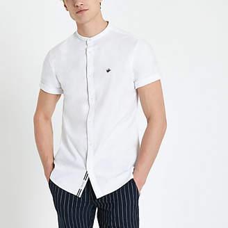 River Island White grandad collar regular fit Oxford shirt