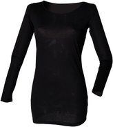 Skinni Fit Ladies/Womens Long Line Touch T-Shirt (Long Sleeve) (M)