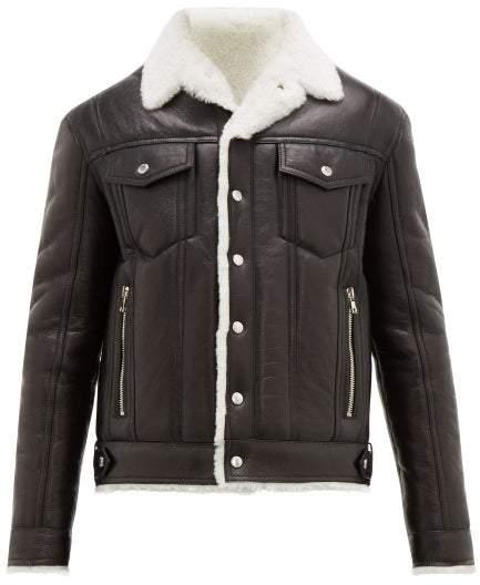 Balmain Shearling Lined Leather Flight Jacket - Mens - Black