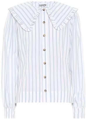 Ganni Striped cotton blouse