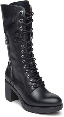 Nero Giardini Lace-Up Leather Combat Boot